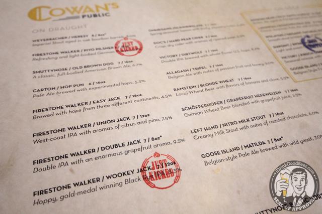 Cowans Public Nutley New Jersey Beer Menu